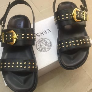 Versace Gold Pin Sandals Black
