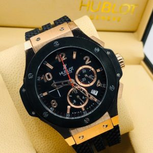 Hublot Black Rose Gold Colour Chain Bracelet Wristwatch
