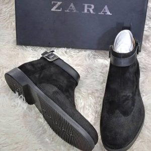 Zara Suede Ankle Boot Black