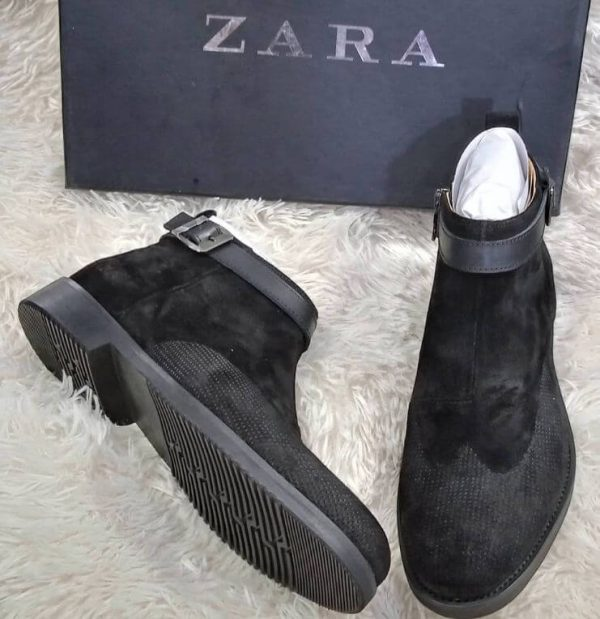 Zara Suede Ankle Boot Black 3