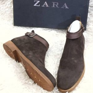 Zara Suede Ankle Boot Coffee Brown