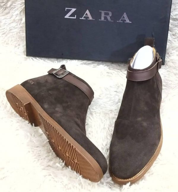 Zara Suede Ankle Boot Coffee Brown 3