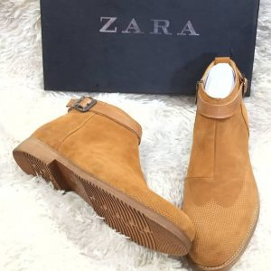 Zara Suede Ankle Boot Brown