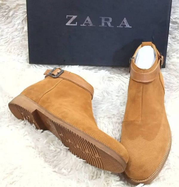 Zara Suede Ankle Boot Brown 3