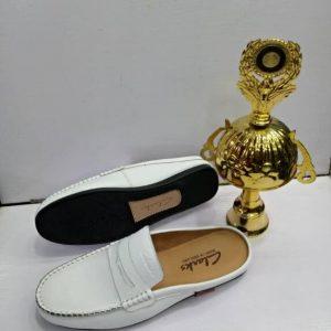 Clarks Half Shoe – Belt White