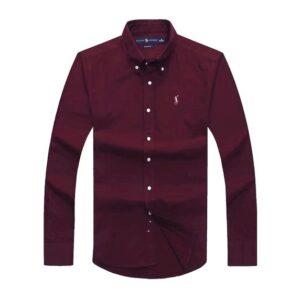 Ralph Lauren Long Sleeve Plain Shirt – Wine