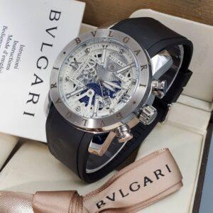 Bvlgari Leather Strap Silver Chrome Watch