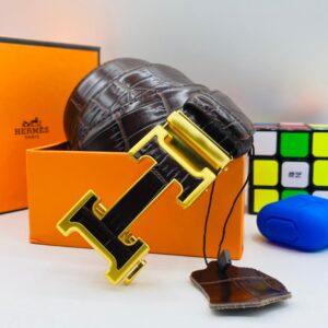 Hermes Leather Belt Brown Gold