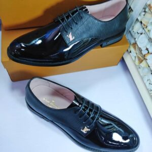 Louis Vuitton Patent Lace Up Shoe Black
