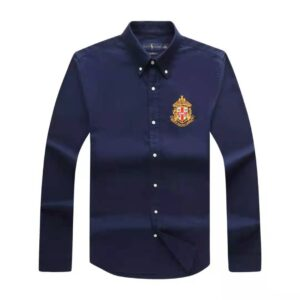 Ralph Lauren Crested Plain Long Sleeve Shirt Navy Blue