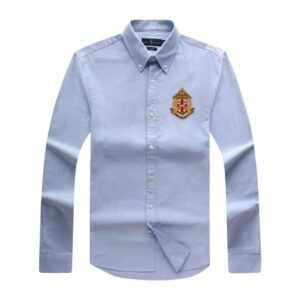 Ralph Lauren Crested Plain Long Sleeve Shirt Sky Blue