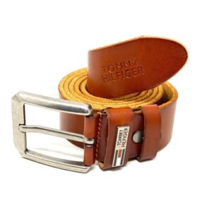 "Tommy Classic Belt Brown ""Silver Head"""
