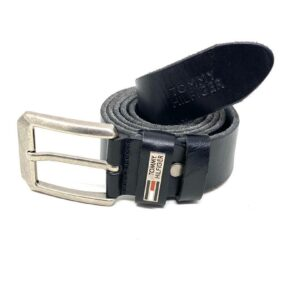 "Tommy Classic Belt Black ""Silver Head"""