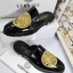Versace Patent Half Shoe Black