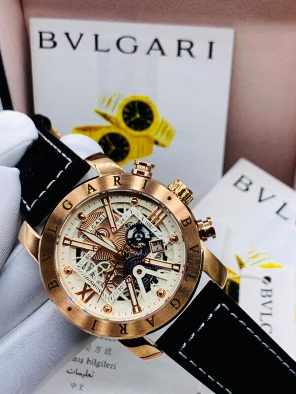 Bvlgari Gold Leather Watch 3