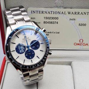 Omega White/Blue Face Silver Bracelet Watch