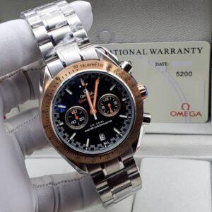 Omega Black Face Silver Bracelet Watch