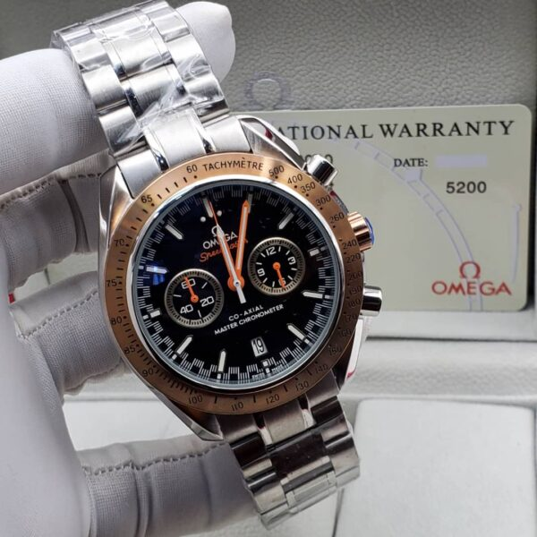 Omega Black Face Silver Bracelet Watch 3