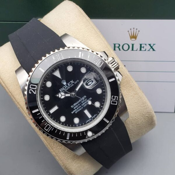 Rolex SIlver Watch with Black Rubber Strap 3