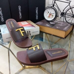 Tomford Cover Slippers Coffee Brown