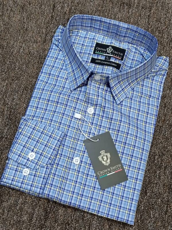 Crown Smith Blue Checkers Longsleeve Shirt 3 crown smith