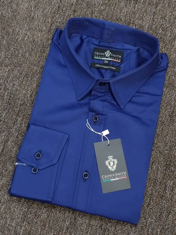 Crown Smith Navy Blue Longsleeve Plain Shirt 3 crown smith